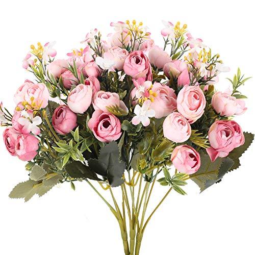 XHXSTORE 3 Pcs Kunstblumen Künstliche Rosa Blumen Deko Seidenblumen Blumenstrauß Plastikblumen Unechte Blumenfür Hochzeit Party Fest Garten Tischdeko Mittelstücke Dekoration