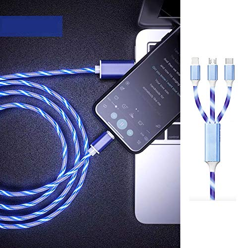 3 in 1 Visible Flowing LED USB Cable Fast Charger Car Phone Cord with Micro USB/Type C for Phone 8/9/XR/Max/X/8/7 Plus/Samsung S10 S9 /Note 9/ Moto G7/LG and More with Storage Line-Blue