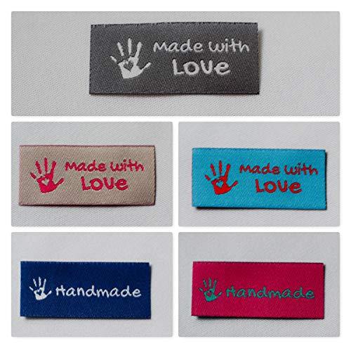 Sylter Nähkultur 20 Handmade & Made with Love Label Mixpaket Einnähetiketten Webetiketten Kleideretiketten