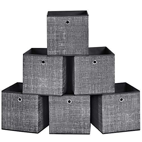 SONGMICS Cajas organizadoras Plegables, Cajas de Almacenamiento, Juego de 6, 30 x 30 x 30 cm, Tela, Organizadores de Ropa, Juguete Negro RFB006B01