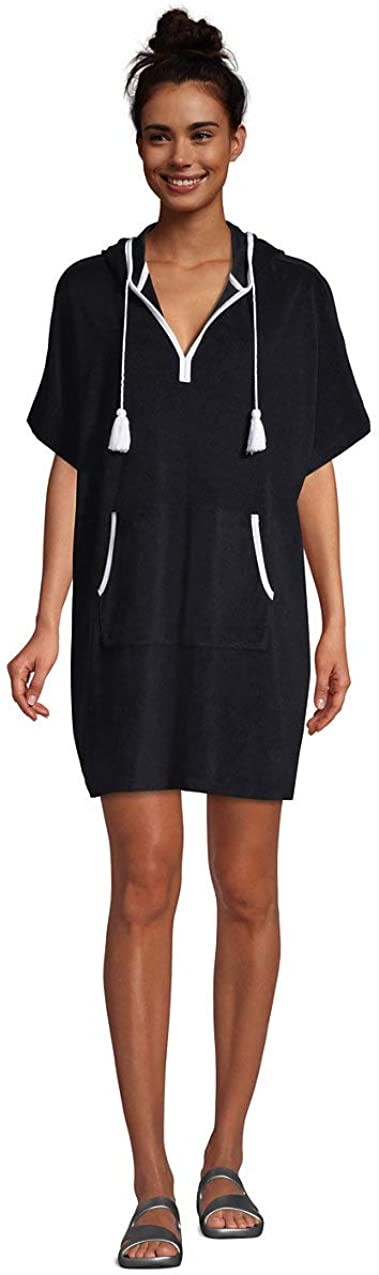 Lands' End Women's Terry V-Neck Short Sleeve Hooded Swim Cover-up Dress with Pocket
