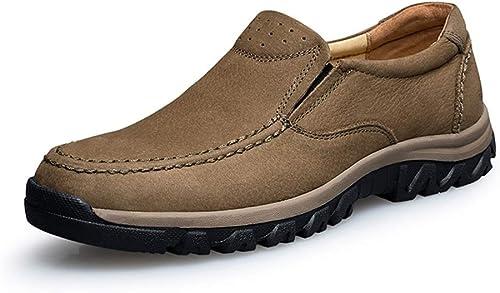 YHUISEN Chaussures Nouveau Mode Oxford Décontracté Hommes décontractés Confortables de Haute qualité Faible Pure Slip on Chaussures Formelles de Haute qualité (Couleur   Kaki, Taille   47 EU)