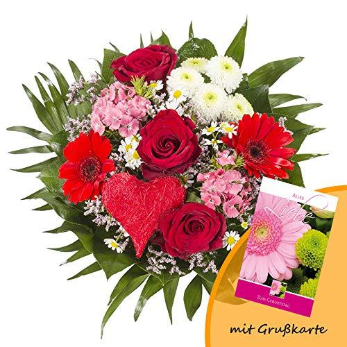 """Dominik Blumen und Pflanzen, Blumenstrauß """"Alles Liebe"""" aus Rosen, Gerbera und Johanniskraut und Grußkarte """"Geburtstag"""""""