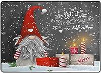 ノームのギフト冬の雪の結晶エリアラグ、メリークリスマスラグリビングダイニングルームベッドルームキッチン、5'X7'子供部屋ラグフロアカーペットヨガマット