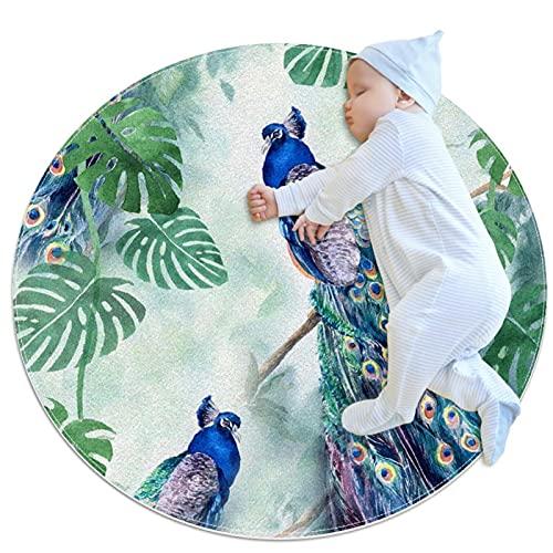 Yumansis Alfombra lavable niños círculo alfombra niños dormitorio alfombra círculo baño alfombra decorativo baño alfombra pavo real y hojas 100x100cm