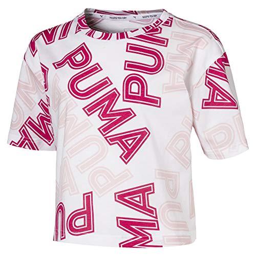 PUMA Modern Sports AOP tee G Camiseta, Niñas, Blanco, 11-12Y