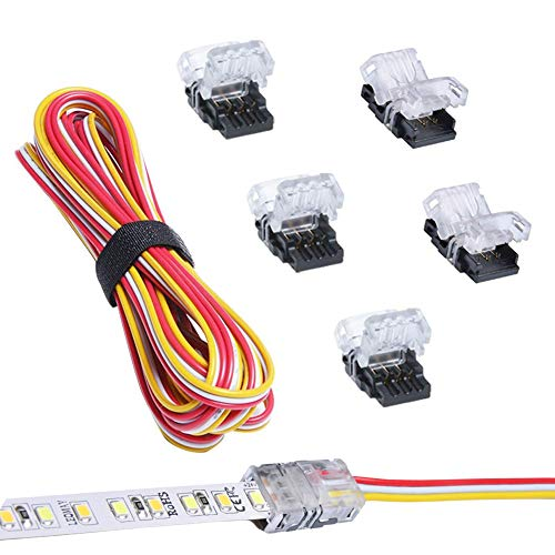 Nicelux CCT Tunable LED Strip Connector 10mm 3 Pin (5PCS) With 9.8 Feet 20 AWG LED Extension Wire, DIY Both Strip to Power and board to board Jumper, Non-waterproof And SILICON WATERPROOF Compatible