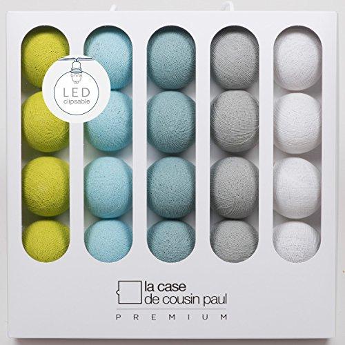 Aqua, 20 boules Boules de Coton avec Mode Timer et Mode Veilleuse CREATIVECOTTON Guirlande Lumineuse