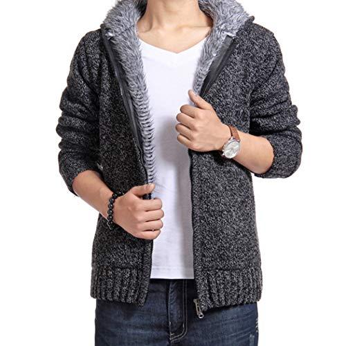 CURT SHARIAH Herren Strickjacke mit Kapuze Einfarbig Reißverschluss Fleece Futter Hoodie Outwear Winter Warmer Mantel