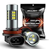 SEALIGHT H11/H8/H16 LED Fog Light Bulbs, 6000K Xenon White, 27 SMD Chips, 360-degree Illumination, Non-polarity, Pack of 2