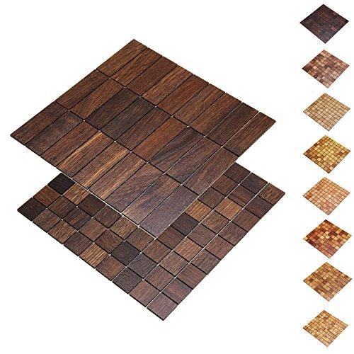 wodewa Holz WandverkleIdung Holzmosaik Fliese 28x28cm I Eiche Tabak I Echtholz Wandpaneele Moderne Wanddekoration Holz Holzverkleidung Fußboden Decke I 30x93mm