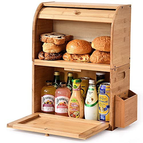 """Bamboo Bread Box, 2 Layer Bread Storage Boxes for Kitchen Counter, Large Capacity Bread Keeper, Roll Top Bread Bin,Removable Layer,with Silverware Basket, 14.96"""" x 9.8"""" x19.6"""", (Self-Assembly)"""