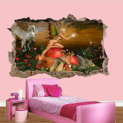 Pegatinas de pared-3D-Elfos Flying horse Etiqueta de la pared Efecto Poster Decal Mural-50x70cm