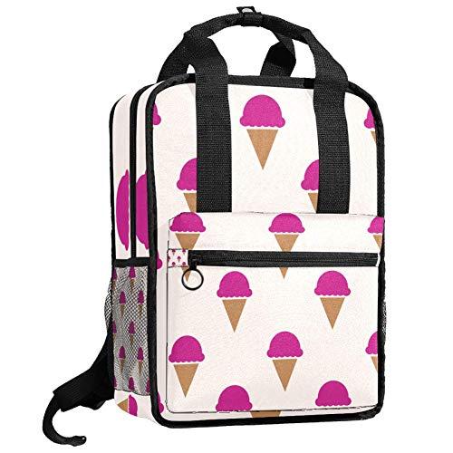 Nette College-Tasche Mode lässig Rucksack Reise Tagesrucksack für Mädchen Junge Teenager Himbeer EIS Muster