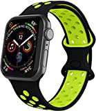 VIKATech Compatible Cinturino per Apple Watch Cinturino 44mm 42mm, Due Colori Morbido Silicone Traspirante Cinturini Sportiva di Ricambio per iWatch Series 6/5/4/3/2/1, M/L, Nero/Volt