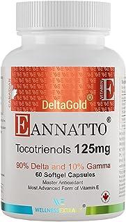 E Annatto Tocotrienols Deltagold 125mg, Vitamin E Tocotrienols Supplements 60 Softgel Capsules, Tocopherol Free, Supports ...