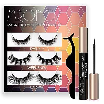 MRONOS Magnetic Eyelash and Eyeliner Kit,Upgraded 3D Magnetic False Eyelashes Set,With Reusable Lashes
