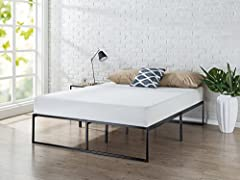 14 inch profile mattress foundation supports memory foam, spring, and hybrid mattresses No box spring needed, mattress sold separately Strong steel structure prevents sagging and increases mattress life Foam padded tape is added to the steel frame fo...