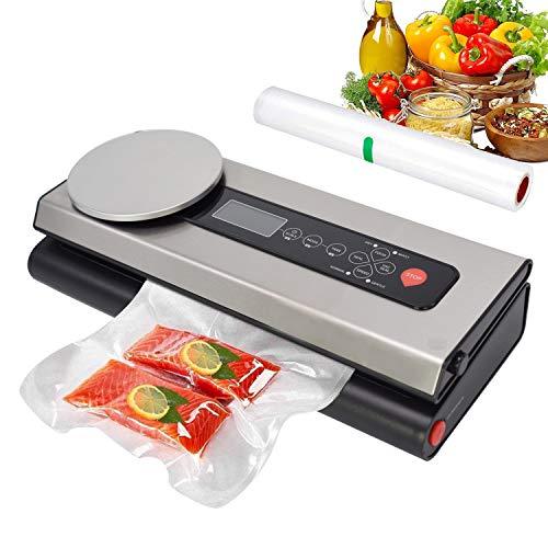 Techfection Vakuumiergerät Automatischer Vakuumierer mit Lebensmittel-Waagen&LCD-Bildschirm für trockene&feuchte Lebensmittel bleiben vakuumiert bis zu 8x länger frisch