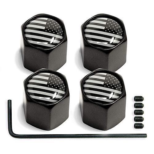 LEIWOOR Ventilvorbaukappe (amerikanische Flagge) – schwarzes Aluminium mit Gummiring für Reifenfelgen, Staubschutz für Autos, LKW, Fahrräder, Motorräder, Fahrräder (4 Stück)
