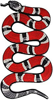 Cool Red Black Snake Embroidered Applique Patch Vintage Animal Patch T-shirt Jeans Decoration Patch DIY Garment Accessories
