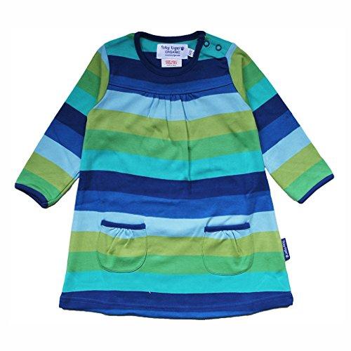 Toby Tiger Robe Bébé Fille Coton Bio Manches Longues Bleu Multistripe - Bleu - Medium