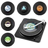 Coolty 6 Stück Vinyl Schallplatten Untersetzer, Rutschfeste Tasse Matte, Isolierte Kaffee Getränke Untersetzer mit Halter für Tassen Tisch Bar Glas Gläser mit Halter