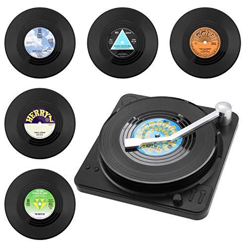 Coolty 6 Piezas Posavasos de Vinilo Retro para Discos de CD, Antideslizante Redonda Posavasos con Soporte