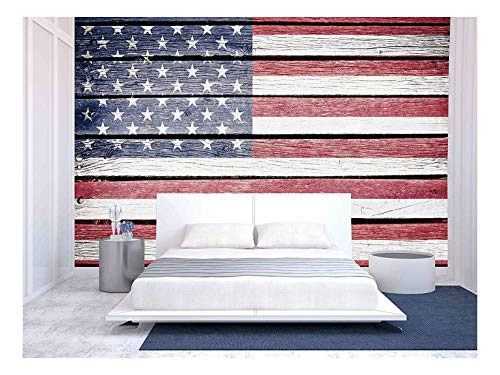 wall26 - USA, American Flag Painted on Old Wood Plank Background - Removable Wall Mural | Self-Adhesive Large Wallpaper - 66x96 inches
