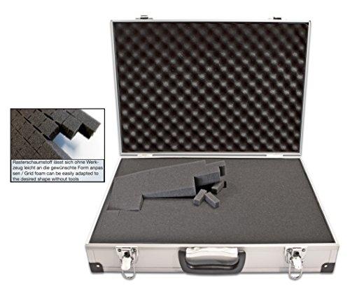 PeakTech 7265 – Estuche universal para dispositivos de medición, robusto estuche de aluminio, almacenamiento de herramientas, relleno de espuma, con cerradura, contra polvo, XL - 390 x 280 x 100 mm