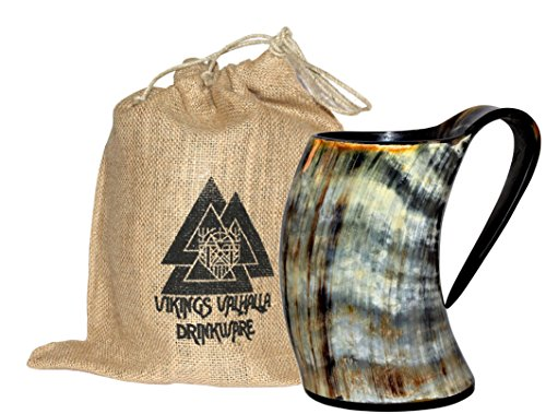 ZAHANAARA's Vikings Valhalla Cup Drinking Horn Tankard Authentic Medieval Inspired drinking Mug tankard for beer wine mead ale (20oz)