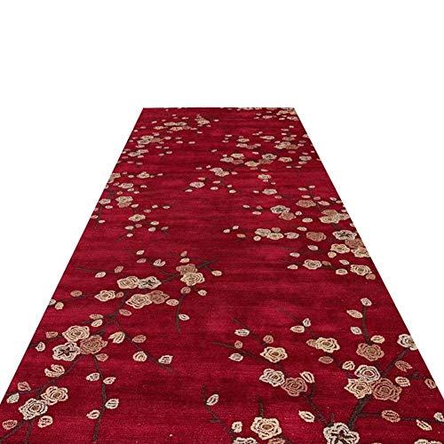 Tappeto Passatoia Corridoio Corridori rossi tradizionali della coperta di area, Corridoio Soggiorno Cucina Camera da letto Tappeto lavabile con rivestimento antiscivolo, Elegante fiore di prugna orien