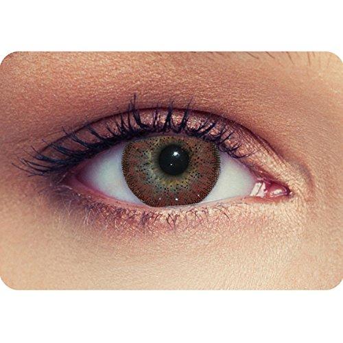 """2 Braune Kontaktlinsen mit Stärke -4,75 \""""Natural Hazel\"""" Haselnuss- braune farbige Kontaktlinsen Drei Montaslinsen + Gratis Behälter"""