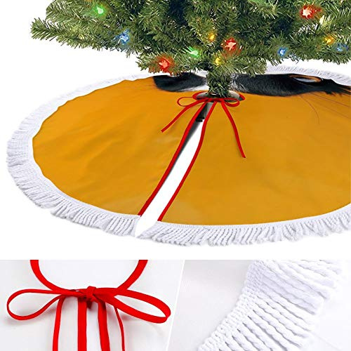 ODOKAY Rustic Christmas Tree Skirt Holiday Decorations Xmas Tree Ornaments for Home Border Collie Yellow