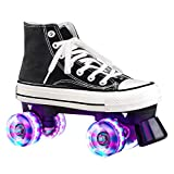 Women's Derby Roller Skates Light Up Wheels, Florescent Canvas Adjustable Double Row Roller Skates Wheels, Outdoor Sneaker Skates for Teens and Youth (Black with Light,9)