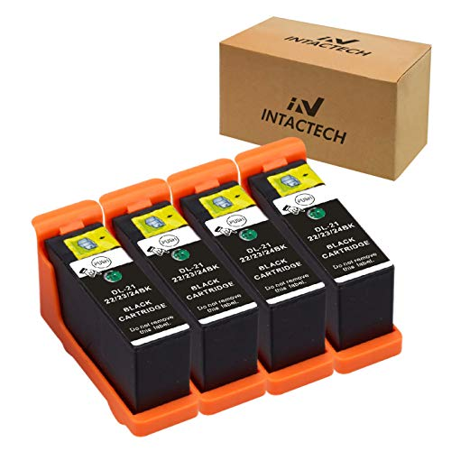 Intactech 4 Black Replacement for Dell V515w, V715w, V313w Ink Cartridges Compatible with Dell Series 21 22 23 24 Work for Dell V313, V313w, V515w, V715w, P513w, P713w Printer