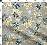 Blau, Gold, Schneeflocken, Winter, Schnee, Modern Stoffe -