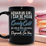 Chica de acuario puedo ser tan dulce como un caramelo frío como el hielo y malvado todo depende de ti taza que cambia de color tazas de café gráficas tazas negras tapas de té novedad personalizada