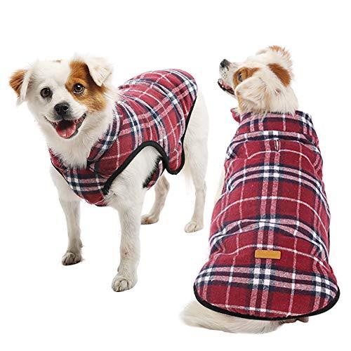 Kuoser - Vestiti invernali per cani con gancio per guinzaglio, extra caldo, super morbido, foderato in pile, antivento, sottile, aderente, per cani di taglia S, M, L, XS-3XL