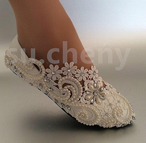 JINGXINSTORE appartamenti tacco bianco perla pizzo pompe per scarpe da matrimonio sposa taglia 5–12, flats, 5.5 US