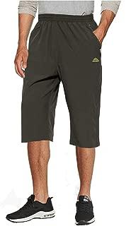 TACVASEN Men's Quick Dry Hiking 3/4 Long Capri Shorts Zipper Pockets