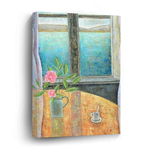 Still Life In Window with Camellia Canvas Picture Painting Artwork Wall Art Poto Framed Canvas Prints for Bedroom Living Room Home Decoration, Ready to Hanging 24'x36'