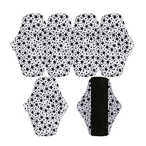 Reutilizable 5 piezas de almohadillas menstruales de servilletas lavables, servilletas de bambú reutilizables, servilletas de mujer, productos de higiene femenina, almohadillas de tela para mujeres