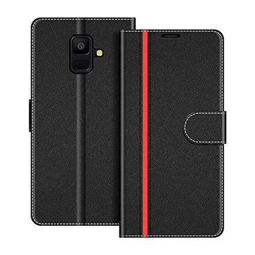 COODIO Funda Samsung Galaxy A6 2018 con Tapa, Funda Movil Samsung A6 2018, Funda Libro Galaxy A6 2018 Carcasa Magnético Funda para Samsung Galaxy A6 2018, Negro/Rojo