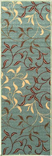"Ottomanson Otto Home Contemporary Leaves Design Modern Area Rug Hallway Runner, 2'7"" X 9'10"", Sage Green/Aqua Blue"