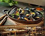 SKTYEE Mejillones cocidos comida de marisco papel tapiz 3d cocina comida rápida tienda restaurante bar mural papeles de pared decoración para el hogar @ 250x175_cm_ (98.4_by_68.9_in_)