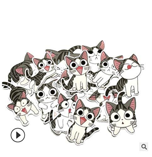 ZJJHX Bonito Traje de Gato de Queso, Pegatinas de Coche con Personalidad, Bonito Carrito, Maleta, Maleta, Pegatinas de Graffiti, 14 Hojas