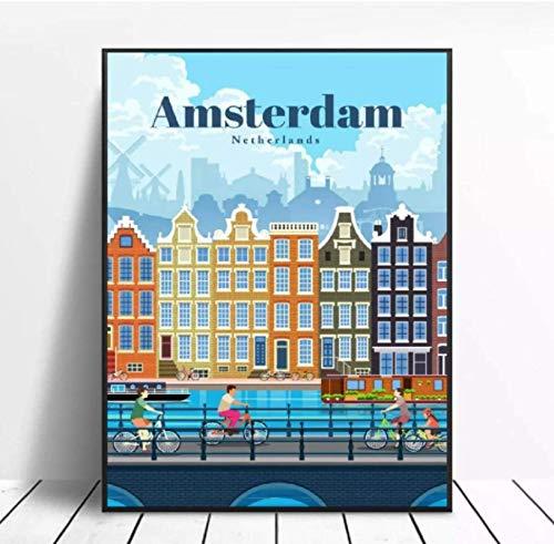 Jindongya Travel To Amsterdam Canvas Travel Poster Wall Art Immagini per Soggiorno Home Decor Immagini Stampe su Tela Wall Art (50X75Cm) -20x30 Pollici Senza Bordo