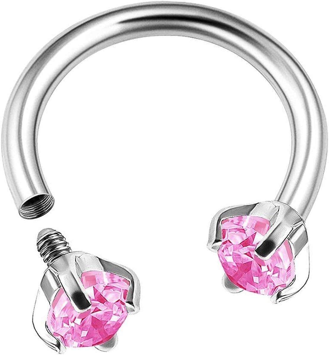 BanaVega Surgical Steel Internally Threaded Horseshoe Hoop 16 Gauge 5/16 8mm 3mm CZ Lobe Earrings Helix Piercing Jewelry Choose Colors