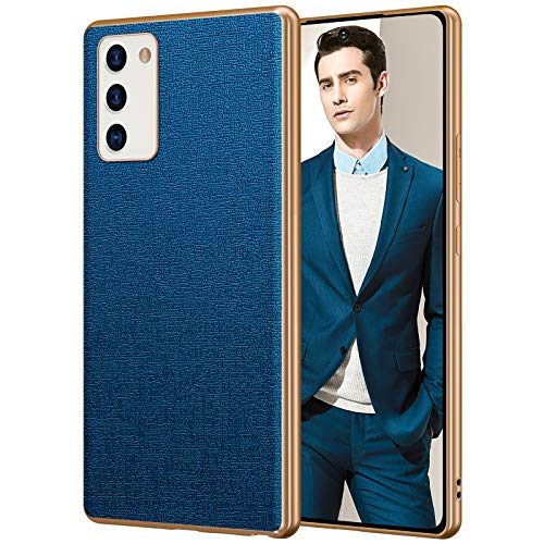 FulSoulComM Galaxy Note 20 Leather Case, Slim Luxury Elegant PU Leather with Electroplate Frame Soft Grip Flexible Full Body Protection Cover Cases for Samsung Galaxy Note 20 5G 6.7''